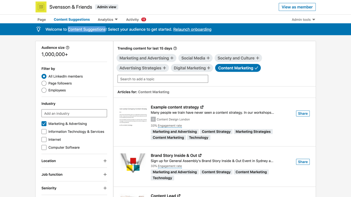 LinkedIn Content Suggestions